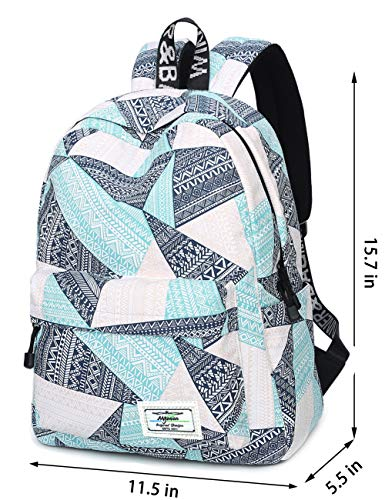 Backpack for Teens, Fashion Geometric Pattern Laptop Backpack College Bags Women Shoulder Bag Daypack Bookbags Travel Bag by Mygreen (Blue&Green&Orange) by mygreen (Image #2)