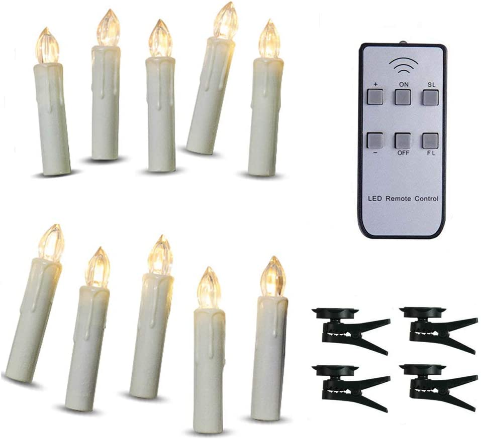 TBW Battery Powered Remote Control LED Christmas Tree Taper Candles with Remote and Removable Clips for Weddings, Vigil and Menorah 4 , Ivory ,Pack of 10