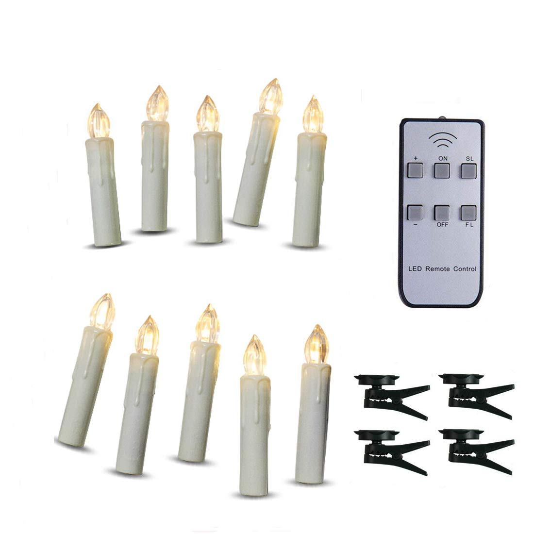 TBW LED Flameless Taper Ivory Candles with Remote and Removable Clips Drip Effect Set of 10