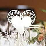 Tischkärtchen, Tinksky 50 Stück Platzkarte Namensschild / Platzkarte / Namensschild / Namenskarte / Tischkarte für Hochzeiten Feste oder Partys Weiss