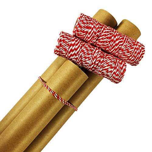 Plain Kraft Postal Wrap Brown Kraft Paper, 3 Rolls, with Red Baker\'s Twine