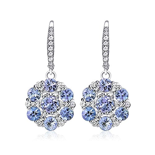 Estate Sterling Silver Earrings - Sterling Silver Tanzanite and White Topaz Flower Dangle Leverback Earrings