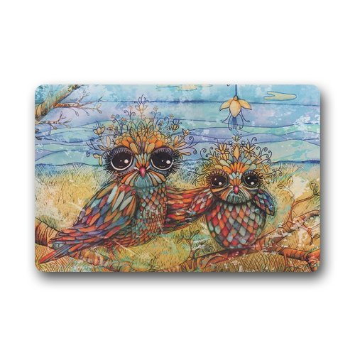 "Twin Owl Art Custom Door Mats Indoor Outdoor House Doormat 23.6""L x 15.7""W"