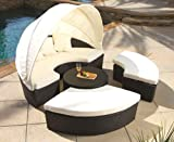 Sunbed With Canopy Best Deals - Outdoor Wicker PE Rattan Sunbed Lounger Canopy Day Bed Patio Set and Glass Coffee Table