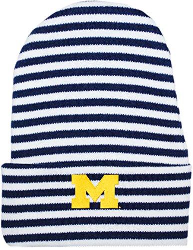University of Michigan Wolverines Striped Newborn Baby Knit Cap Navy