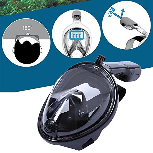 Breathing Snorkel Mask Full Face Set,MEILIIO Diving Mask Antifog and Anti-leak with 180º Degrees Viewing Area Easy Breath Foldable Adjustable Head Straps Snorkel Mask Adults and Youth (S/M,Black) by MeiLiio