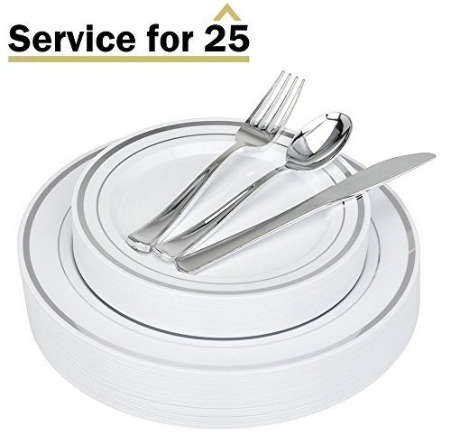 Place Setting Set (Stock Your Home Elegant 125 Piece Silver Rim Plastic Place Setting Set with Silverware - Solid, Disposable & Heavy-duty Includes: 25 Dinner Plates, 25 Dessert Plates, 25 Forks, 25 Knives, 25 Spoons)