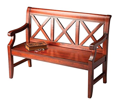 (Home Garden Decorative Hardwood Plantation Cherry Rectangular Bench with X Back Support - Dark)
