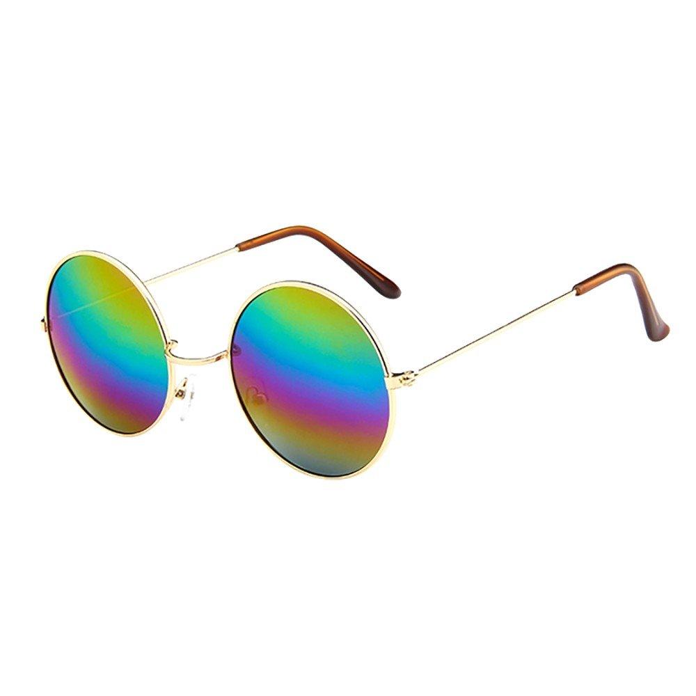 KUDICO Unisex Sonnenbrille Retro Round Vintage Polarisierte Linsen Metall Gestell Hippi Brille John Lennon UV400 Outdoor Brillen A, One Size