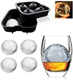 Styleys Flexible Silicone Spherical 4 Round Ball Ice Cube Tray Maker Mold With Lid Perfect Ice Spheres For Whiskey Lovers Cocktails