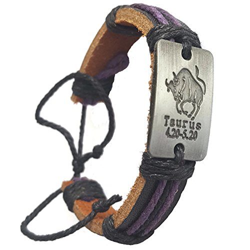 Pewter Black Leather Bracelet (Pewter Rectangle Zodiac Adjustable Leather Bracelet with Colorful String Unisex with Metal Zodiac Sign Logo Charm Silver Tone (Taurus))