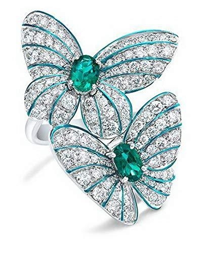 (Waldenn 925 Silver Aquamarine Opal Women Man Jewelry Wedding Engagement Ring Size 6-10 | Model RNG - 13961 | 8)