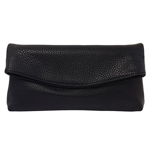 Leather Faux Black Clutch Oversize Foldover qFaS0xU8w