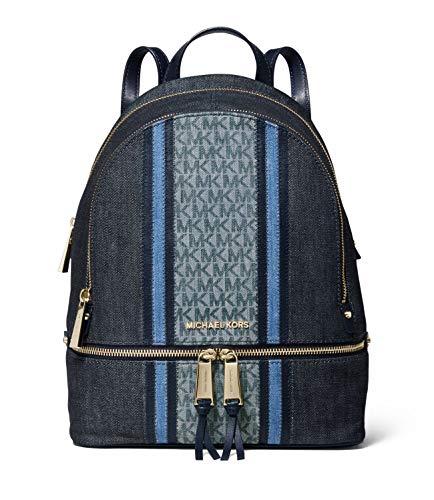 Michael Kors Rhea Medium Zip Denim Logo Backpack in Denim Multi