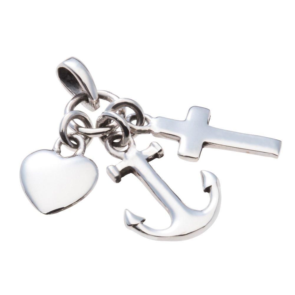 Glaube Liebe Hoffnung 925 Silber Anhänger Kreuz Anker Herz Steel fpm7586