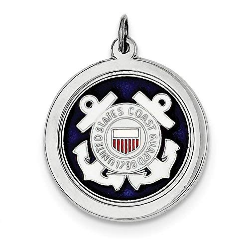 Solid .925 Sterling Silver Rhod-plated US Coast Guard - Guard Us Coast Disc