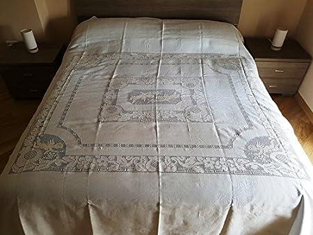 Lenzuola Matrimoniali Con Angeli.Pregiato Copriletto In Puro Lino Con Ricamo Sfilato Siciliano