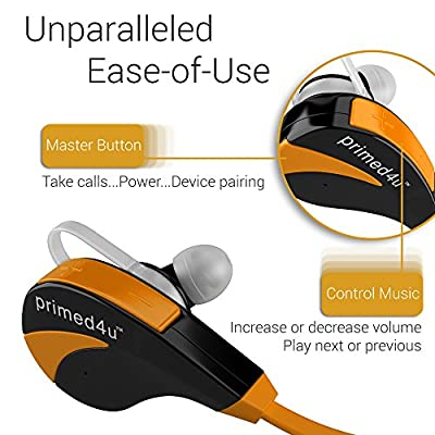 Bluetooth Headphones, Primed4U Bluetooth Earbuds V5.1 [Orange & Black] Wireless Headset [AptX Stereo] Noise Cancelling Headphones with Microphone