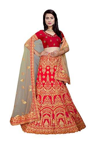 PCC Indian Women Designer Wedding Lehenga Choli Red by PinkCityCreations