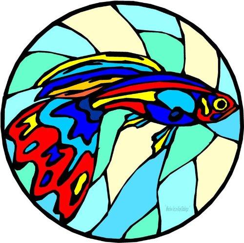 レッド,イエロー&ブルーGuppy魚 – エッチングビニールStained Glass Film , Static Cling Window Decal 12 in x 12 in ブルー B005LASG6Y 12 in x 12 in
