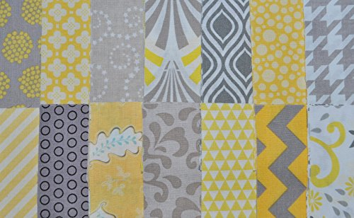 """Designer Fabric 5"""" Squares Charm Pack, Yellow and Gray, 56 pieces, 100% cotton"""