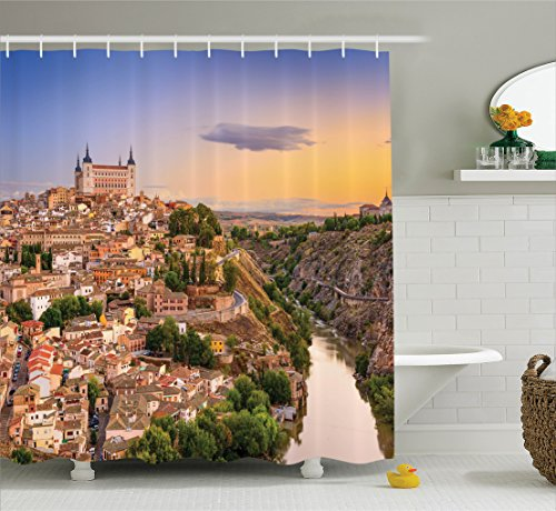 Ambesonne Wanderlust Decor Collection, Toledo Spain Old City over the Tagus River Downtown Castle Architectural Ancient Picture, Polyester Fabric Bathroom Shower Curtain Set with Hooks, Ivory by Ambesonne