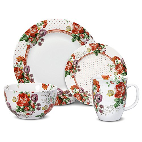(Katie Alice Scarlet Posey 16 Piece Dinnerware Set, Service for 4)