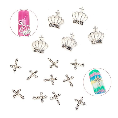 Unique Professional Nail Art Set of 15pcs Quality Metal 3D Decorations Including Crowns And Crosses With Rhinestones / Gems / Crystals / Jewels By VAGA -