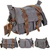GHP Men's Vintage Grey Canvas Leather School Military Messenger Shoulder Bag