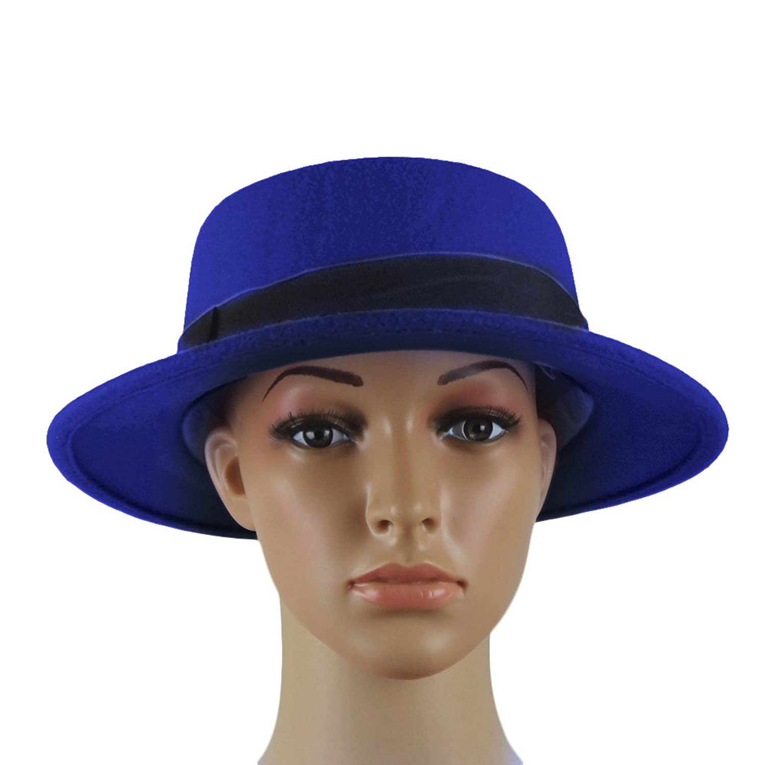 Edwardian Style Hats, Titanic Hats, Derby Hats NE Norboe Womens Brim Fedora Wool Flat Top Hat Church Derby Bowknot Cap $18.99 AT vintagedancer.com