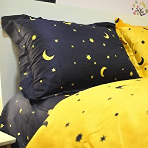 Cliab Home Textile Moon and Star Bedding Reversible Kids Bedding Set Reactive Dyeing Print Bedding 100 % Cotton 4 Pcs (Full)