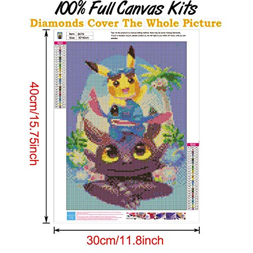 Perfect for Parent Child Activity and Child Gift(Stitch,12x16inch) Full Drill Diamond Painting with New Upgrade Toolkit DIY 5D Diamond Painting Kits