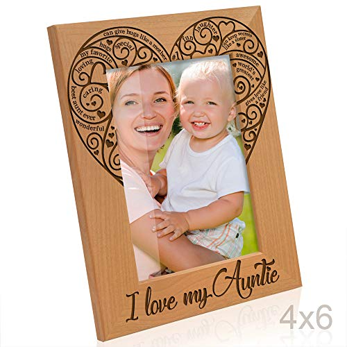 Kate Posh - I Love My Auntie Engraved Natural Photo Frame, Best Aunt Ever Picture Frame, Aunt Gifts, Aunt Gifts for Mother's Day, Like a Mom but Cooler, (4x6 Vertical)