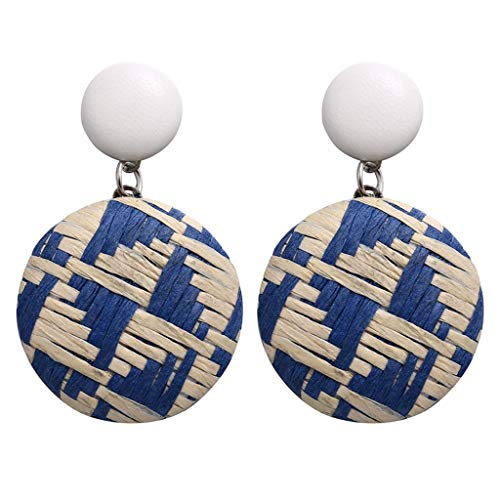 - Psunrise Pendientes Bohemian Style Wood Bamboo Rattan Geometric Round Earrings Ladies Stud Earrings Jewelry(4.5x3cm, Blue)