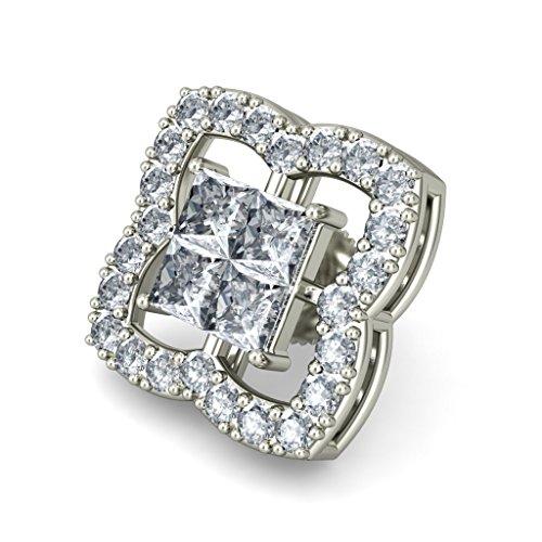 Or blanc 14K 1.088CT TW Round-cut-diamond (IJ | SI) Boucles d'oreille à tige
