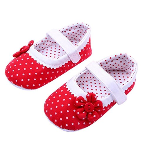 DZT1968® Baby Girl Cloth Soft Sole Round Dot Prewalker Mary Jane Shoes With Flower (S (0-6 months), Red)