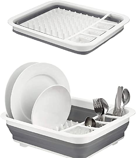 Amazon Com Collapsible Dish Drying Rack Dish Rack Collapsible Drying Rack Dishes Dinnerware Silverware Organizer Portable Dish Drainer For Kitchen Counter Rv Campers Storage 12 5 Wx14 5 L