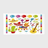 iPrint Cotton Microfiber Hotel SPA Beach Pool Bath Hand Towel,Fiesta,Mexican Party Pattern Cactus Sombrero Musical Items and a Pinata Ethnic Inspirations,Multicolor,for Kids, Teens, and Adults