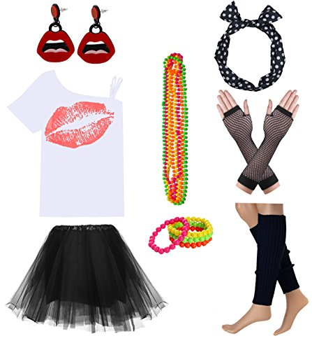 Women Sexy Lips Off Shoulder Shirt with Color Tutu Skirt Complete Costume Outfit (S, White-Black)