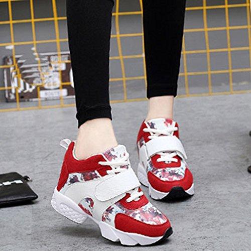 Sneakers Alte Giy Moda Donna Sneakers Stringate Con Zeppa E Tallone Nascosti Scarpe Casual Sneaker Rosse