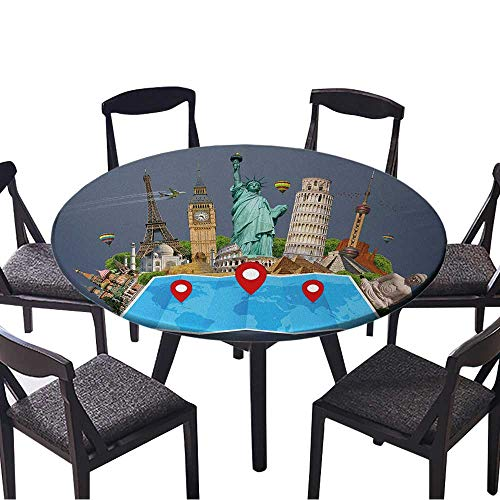 (Picnic Circle Table Cloths Famous Monuments of The World grouped Together on a map with pin icon for Family Dinners or Gatherings 47.5