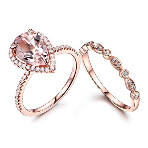 MYRAYGEM-wedding ring sets Pear Shaped Morganite Ring Set Diamond Halo Antique Marquise Milgrain Stackable Band 14k Rose Gold