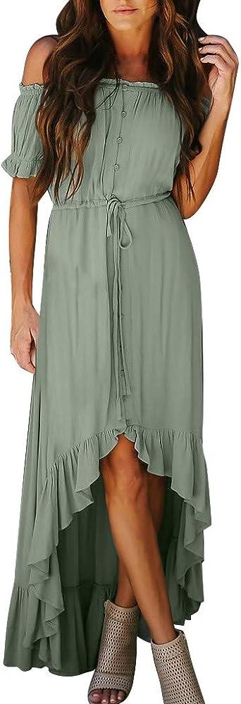 Fhuuly letnia sukienka damska, z odkrytymi ramionami, seksowna długa kobieta falbanka, nieregularna sukienka plażowa, rozmiar plus: Odzież