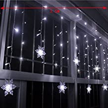 COOSA Snowflake LED Curtain String Lights Lamp New Year Garden Christmas Wedding Party Ceiling Decoration (350x65 CM, 96 LEDs, Cool White)