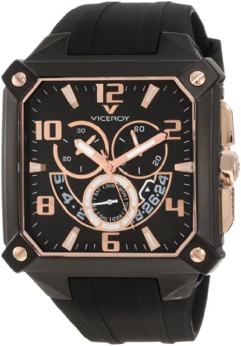 Viceroy Men's 47639-95 Black Square Chronograph Date Rose-Gold Watch