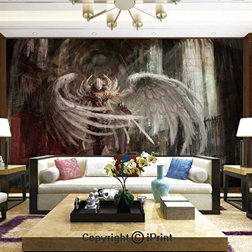 Lionpapa_mural Nature Wall Photo Decoration Removable & Reusable Wallpaper,Cyborg Angel Girl Warrior with Sword in Gothic Ancient Historical Architecture Decorative,Home Decor - 100x144 inches - Cut Out Angels Wallpaper