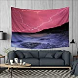 Anhuthree Nature Tapestry Wall Tapestry Thunderstorm Bolts with Vibrant Colorful Sky Like Solar Phenomenal Nature Picture Art Wall Decor 60''x51'' Pink Grey