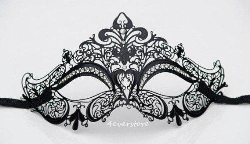 Black Classic Metal Laser Cut Venetian Mardi Gras Masquerade Mask with Diamond