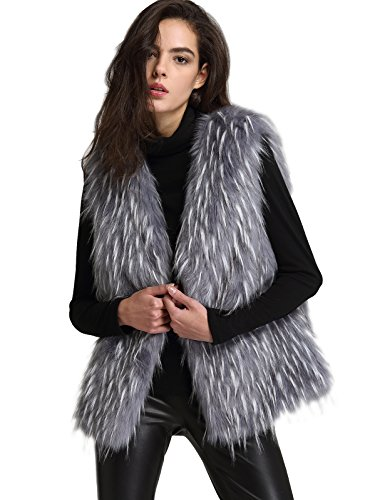ANNA&CHRIS Womens Soft Sleeveless Faux Fur Vest Gradient Waistcoat Jacket, Gray, -