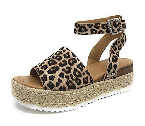 (DecoStain Women's Casual Adjustable Ankle Strap Open Toe Sandals Espadrille Platform Wedge Sandals)